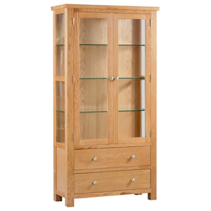 Bicester Oak Display Cabinet with Glass Doors + Sides