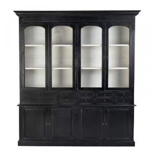 Ebony Bon Appétit French Country Display Cabinet Dresser Sideboard / Cupboard Wood & Glass