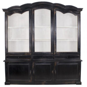 Hermillion French Antique Style Buffet / Hutch Dresser Display Cabinet