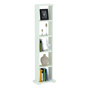 "Alpha Lite Bookshelf & Display Cabinet with 5 shelf, 54"" high -Frosty White"