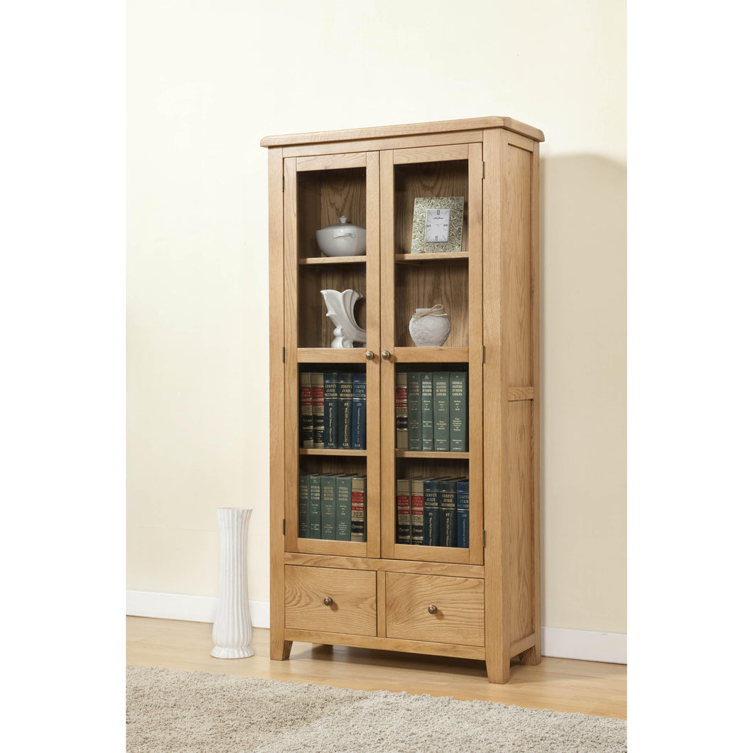 Ascot Rustic Solid Oak Display Cabinet with Glass Doors
