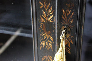 A Good Regency Period Black Japanned & Chinoiserie Decorated Display Cabinet on Stand