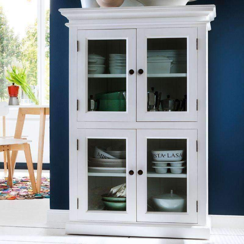Halifax White Painted 2 Level Pantry Display Cabinet