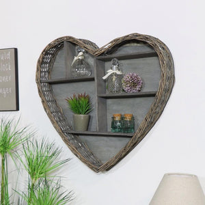 Wicker Heart Wall Shelf