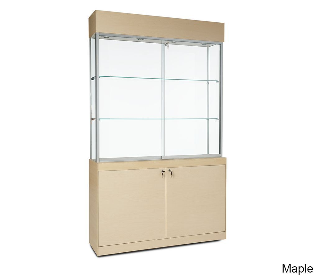 Sleek Glass Display Cabinet with Lights and Bottom Storage