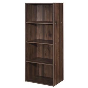 4 Tier Open Shelf  Storage Display Cabinet-Walnut