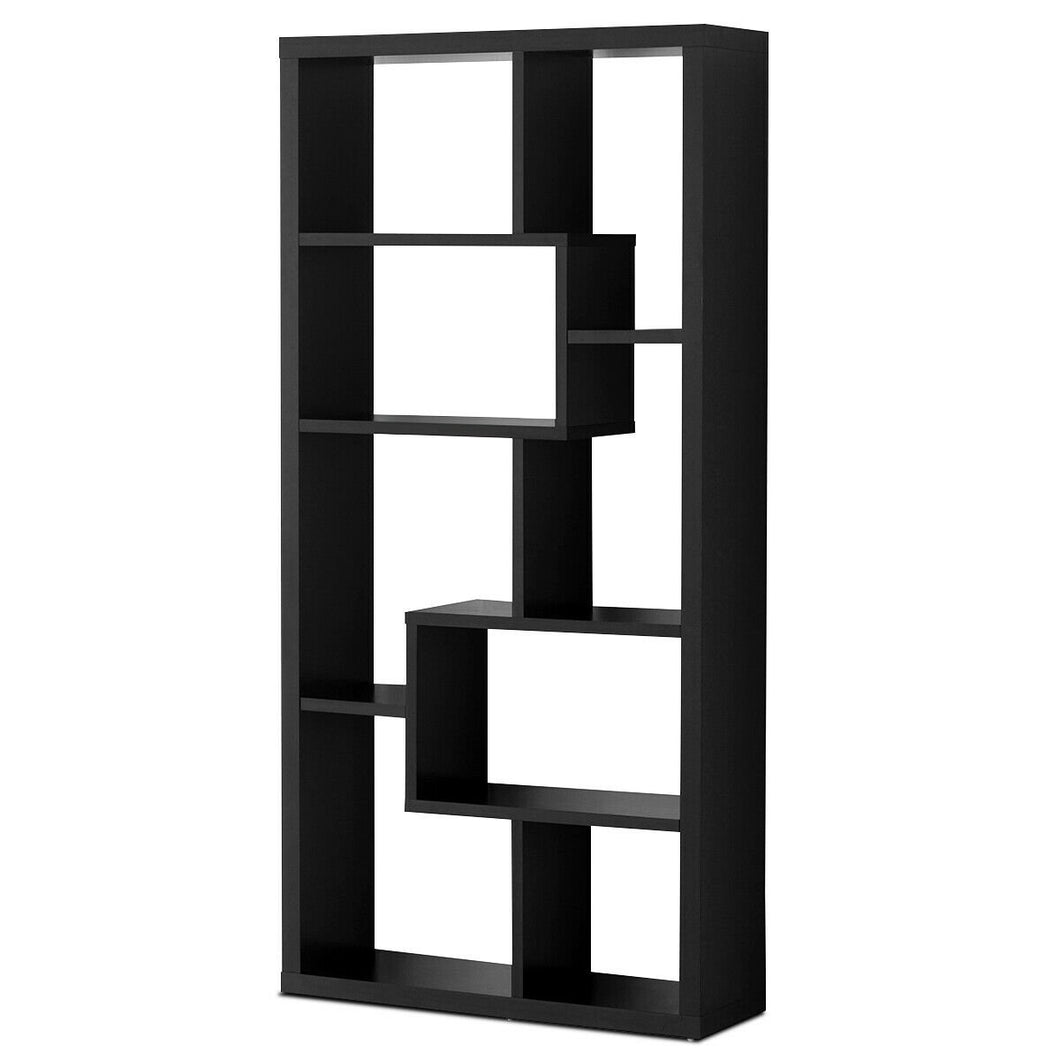 8 Cubes Ladder Shelf Freestanding Corner Bookshelf Display Rack Bookcase-Black