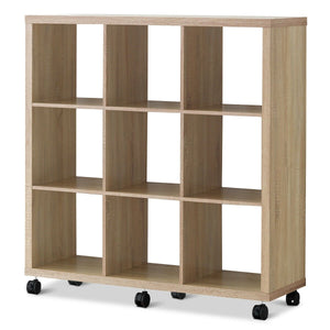 8 Cubes Ladder Shelf Freestanding Corner Bookshelf Display Rack Bookcase-Natural