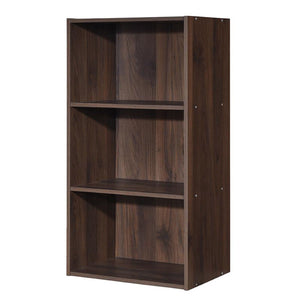 3 Open Shelf Bookcase Modern Storage Display Cabinet-Walnut