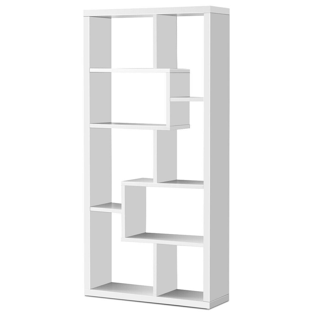 8 Cubes Ladder Shelf Freestanding Corner Bookshelf Display Rack Bookcase-White