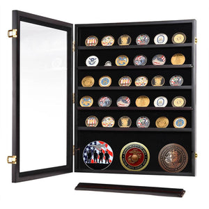 Yescom Badge Shadow Box Coin Display Cabinet w/ Shelves