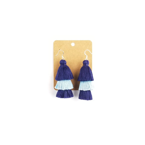 Villanova Earrings - Navy Blue and Light Blue Tassels