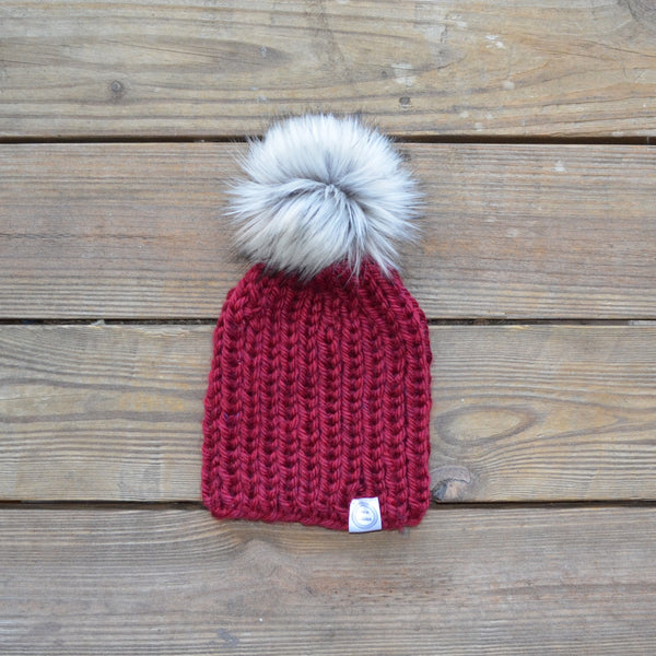 Ribbed Fur Pom Pom Hat - Silver Pom