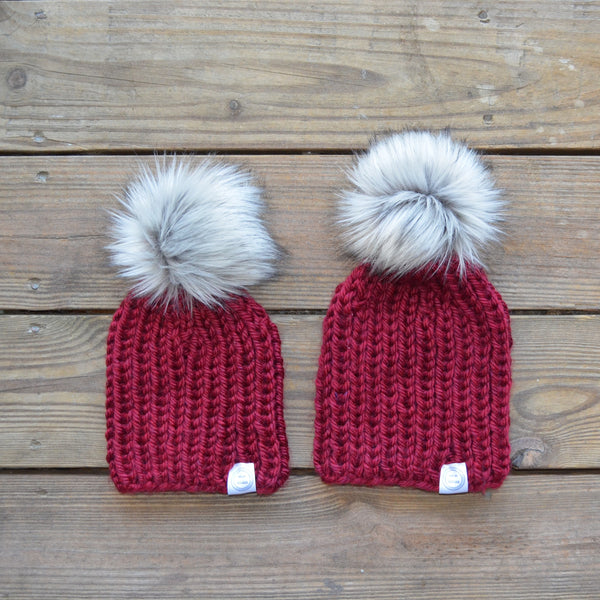 Mommy and Me Hats, Matching Hats, Mommy and Baby Hats, Baby Beanies, Beanies, Fur Pom Pom Beanies, Knit Toque, Knit Beanie, Winter Hats