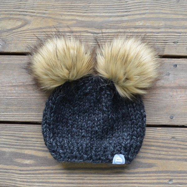 Classic Matching Mommy and Baby Beanies - Tan Poms