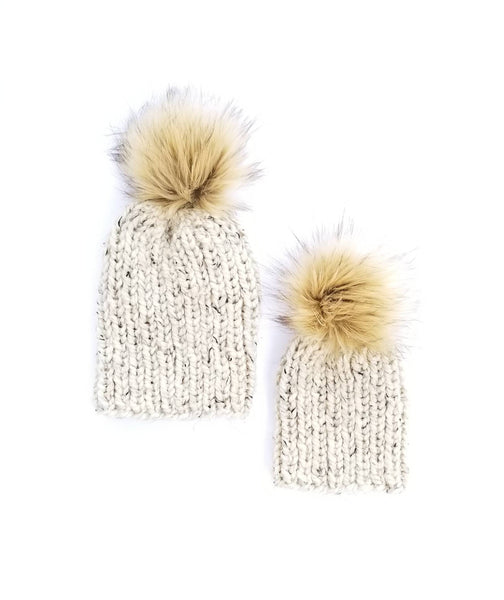 Ribbed - Mommy and Me Hats Single Tan Pom