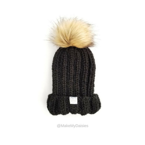 Black winter beanie for women with fur pom pom