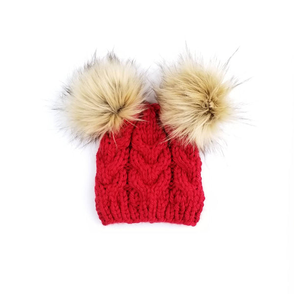 Mommy and Baby Hats - Cable Knit Tan Poms