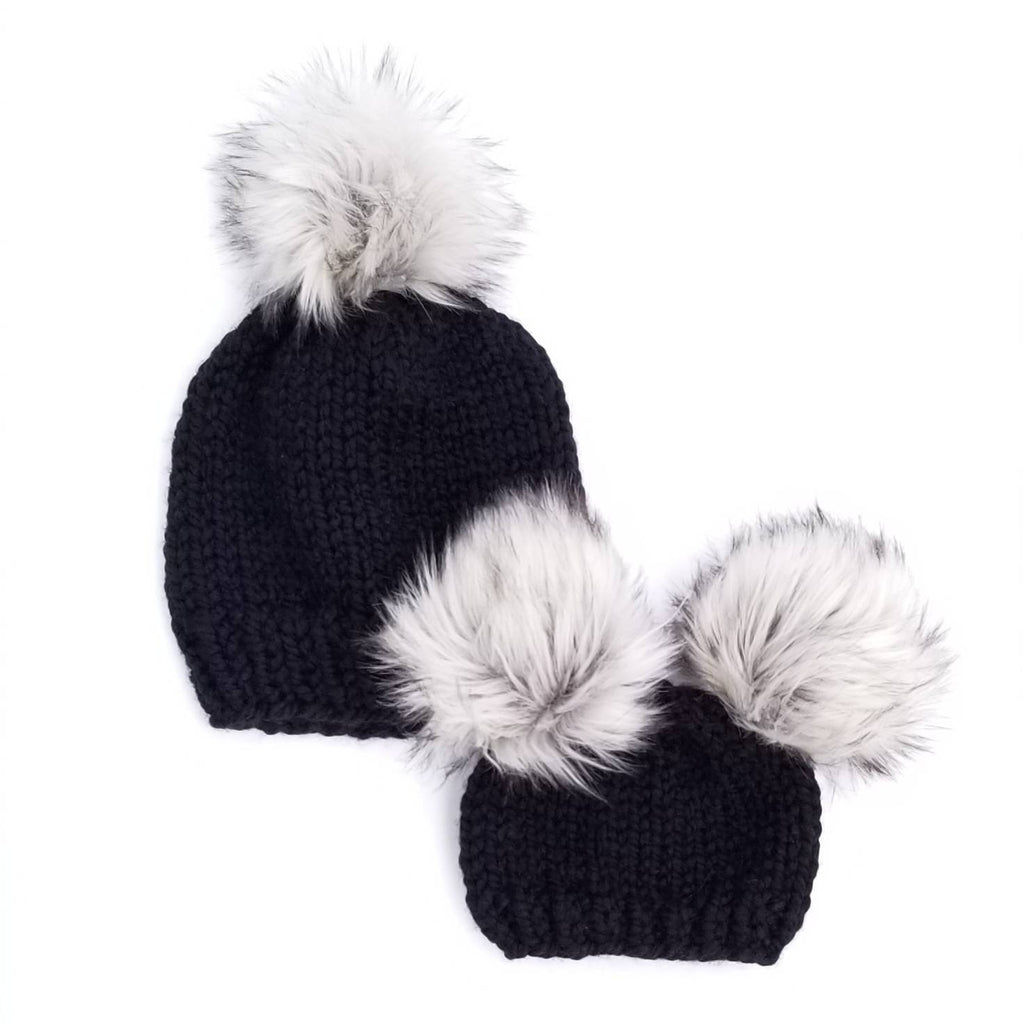 5ca6d9580 Classic Mommy and Me Hats - Silver Fox Poms – MakeMyDaisies