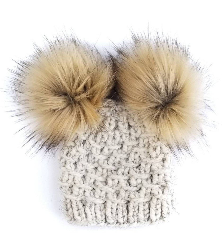The Aspen - Mommy and Me Hats with Double Pom Pom Hat Tan ... c329e6302a15