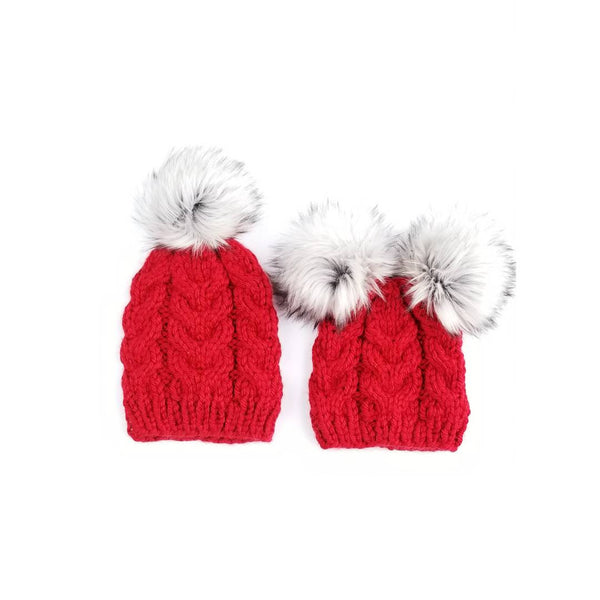 Mommy and Baby Hats with Double Pom Pom Beanie