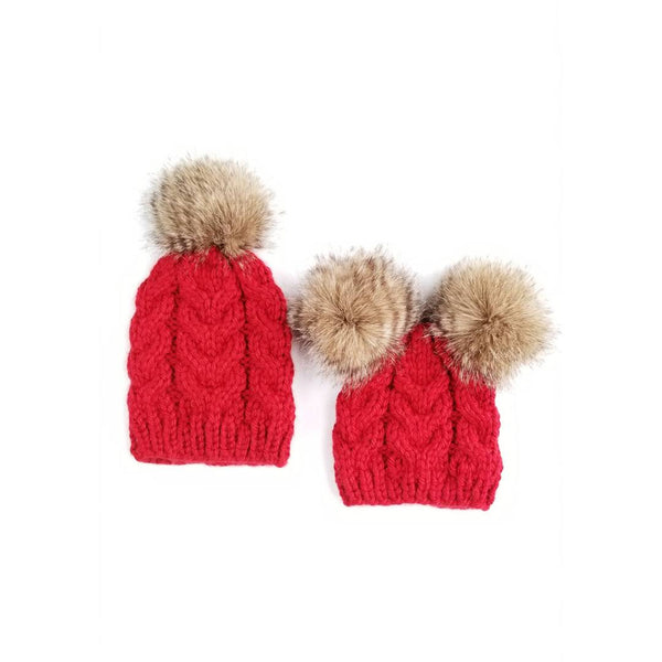 Mommy and Baby Hat - Cable Knit Raccoon Poms