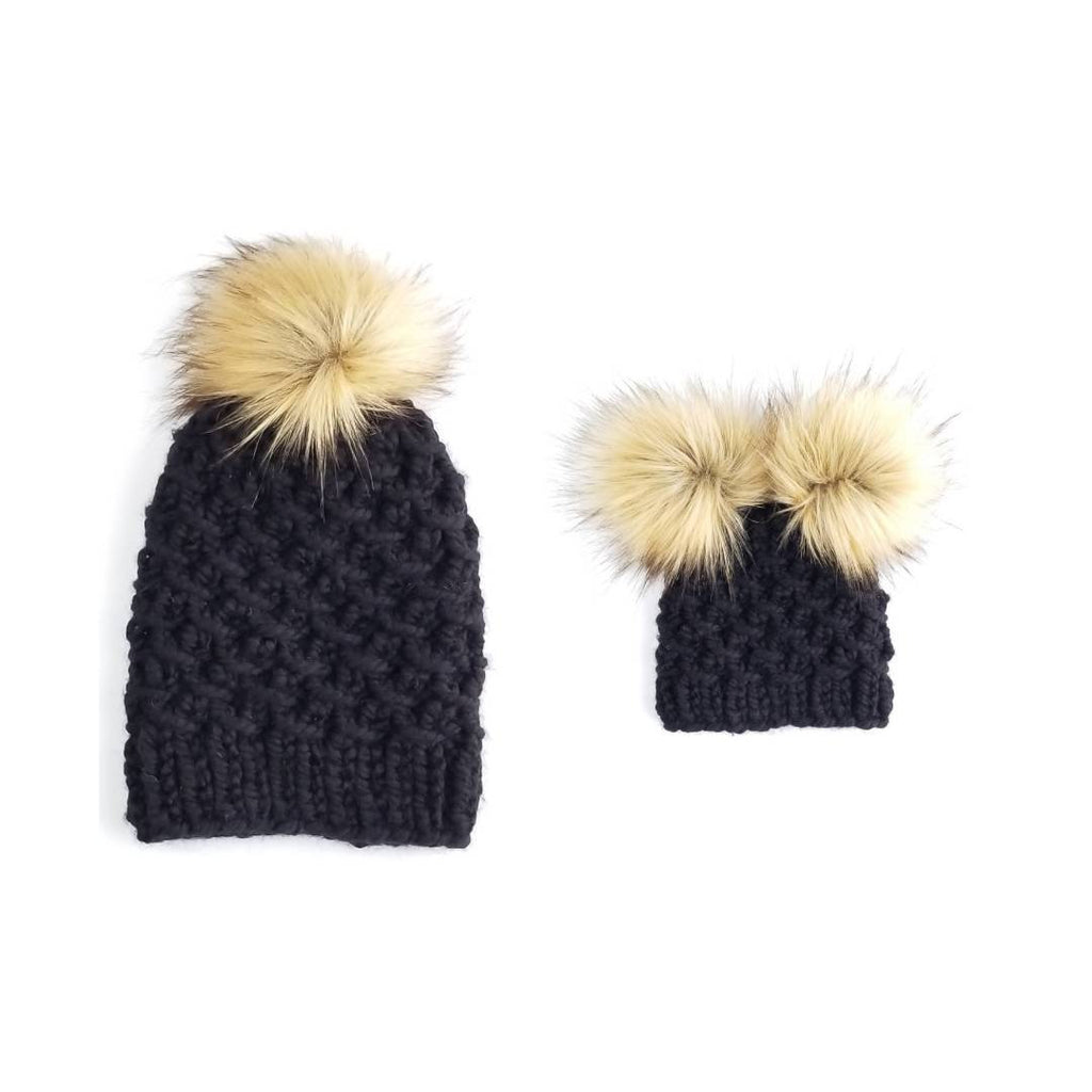 The Aspen - Mommy and Me Hats with Double Pom Pom Hat Tan ... 2e832fda8f5