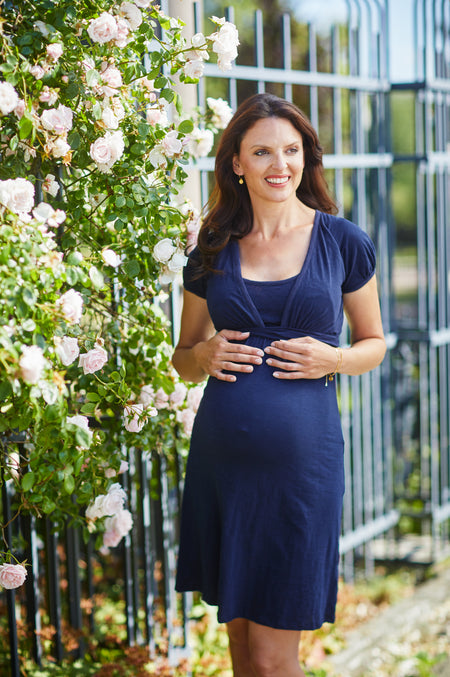 Black short sleeve maternity & nursing wrap dress