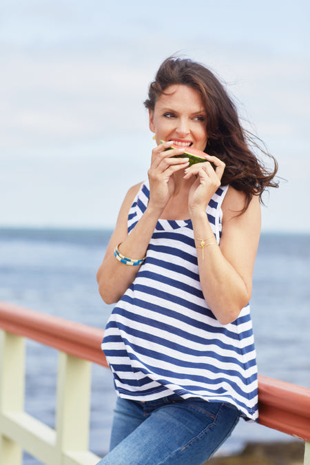 White & navy striped cotton maternity & nursing top
