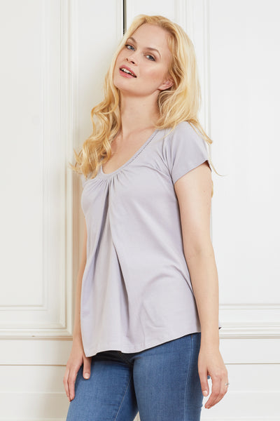Grey cotton maternity & nursing t-shirt - LOVE MILK