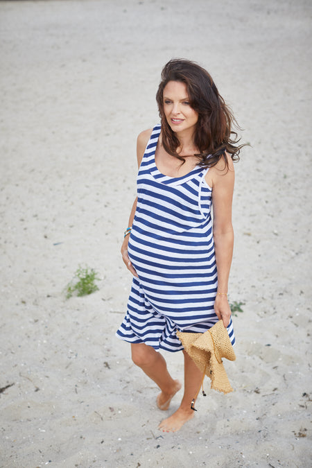 Navy short sleeve maternity & nursing belted dress