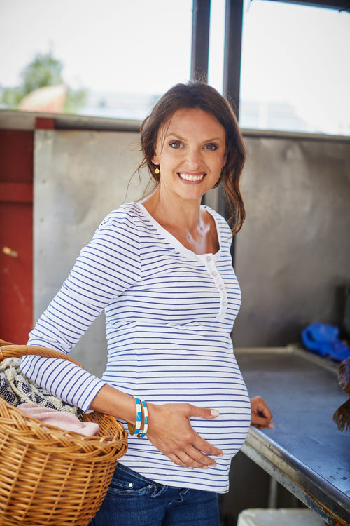 White & navy striped cotton maternity & nursing top - LOVE MILK