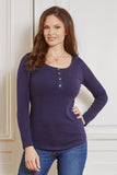 Midnight blue long sleeve maternity & nursing top - LOVE MILK