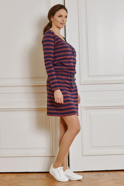 Navy & red striped cotton maternity & nursing dress - LOVE MILK