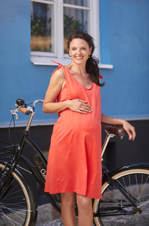 Red sleeveless cotton maternity & nursing dress - LOVE MILK