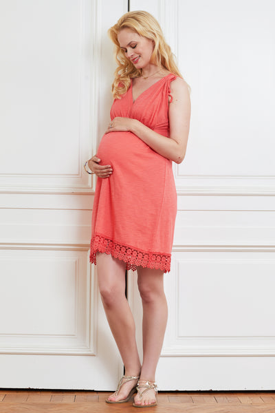 Coral lace-detail cotton maternity & nursing dress - LOVE MILK