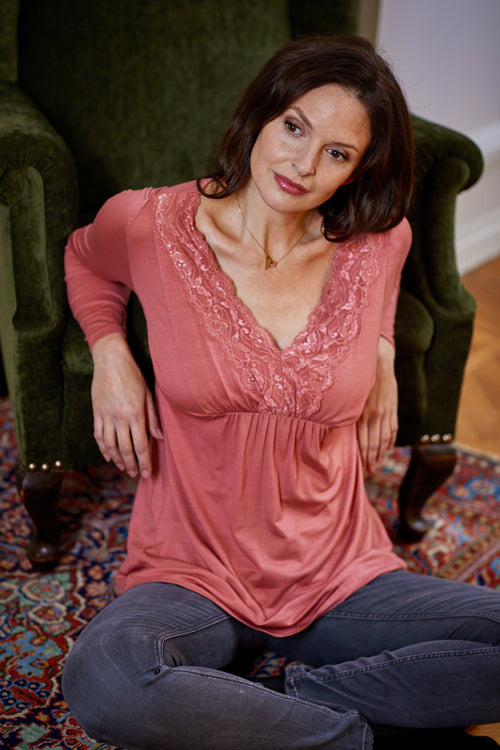 Pink v-neck maternity & nursing top
