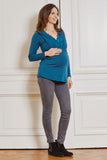 Teal blue V-neck maternity & nursing top - LOVE MILK