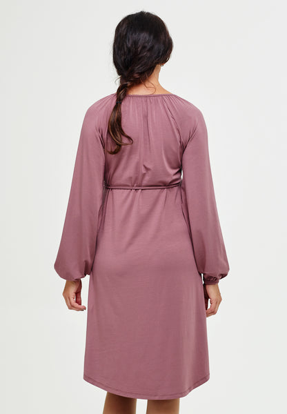Mauve pink long sleeve maternity & nursing belted dress