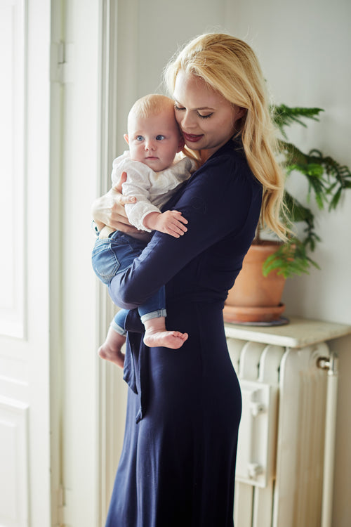 Navy wrap style maternity & nursing dress - LOVE MILK