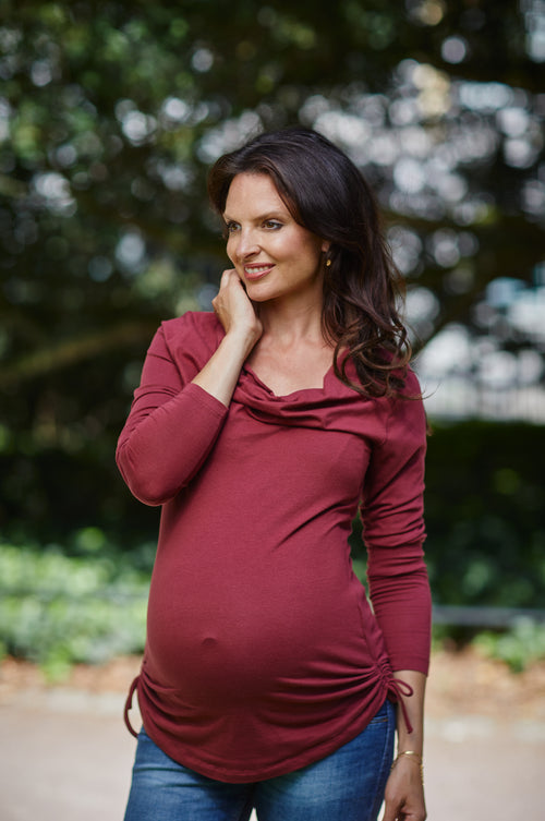 Red cowl neck maternity & nursing top - LOVE MILK