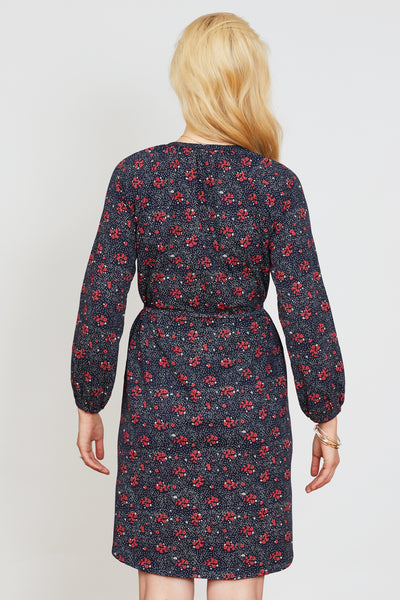 Navy floral maternity & nursing dress - LOVE MILK