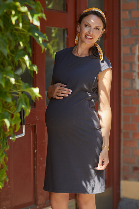 Navy & red striped cotton maternity & nursing dress