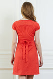 Red short sleeve cotton maternity & nursing dress - LOVE MILK