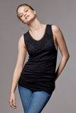 Black maternity tank top with lace, pregnant / nursing, bamboo jersey