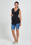 Black V-neck maternity & nursing tank top - LOVE MILK