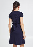 Navy short sleeve cotton maternity & nursing dress - LOVE MILK