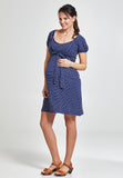 Blue & white striped cotton maternity & nursing dress - LOVE MILK