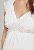 Cream sweetheart neckline maternity & nursing top - LOVE MILK