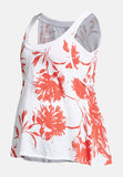 White & coral printed cotton maternity & nursing tank top - LOVE MILK
